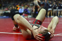 West Fork senior Jarel Arbegast competes against Hudson senior Taylan Entriken in their 170-pound Class 1A championship bout at the state wrestling tournament at Wells Fargo Arena in Des Moines.